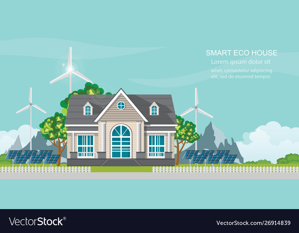 Smart eco house with solar panel and wind power