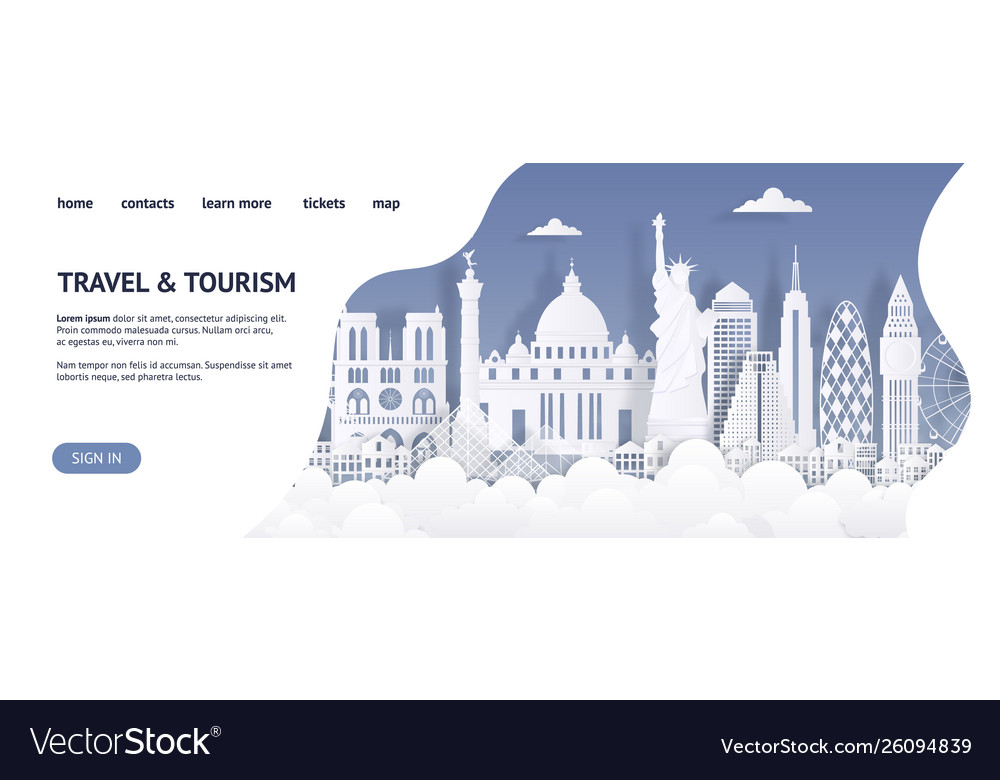 Travel and tourism landing page template paper