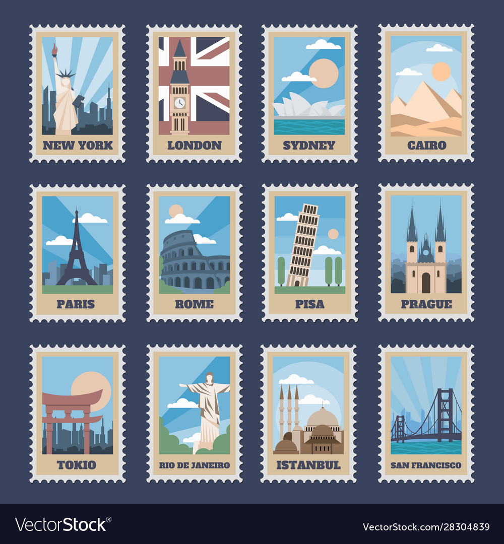 Travel postage stamps vintage stamp with national