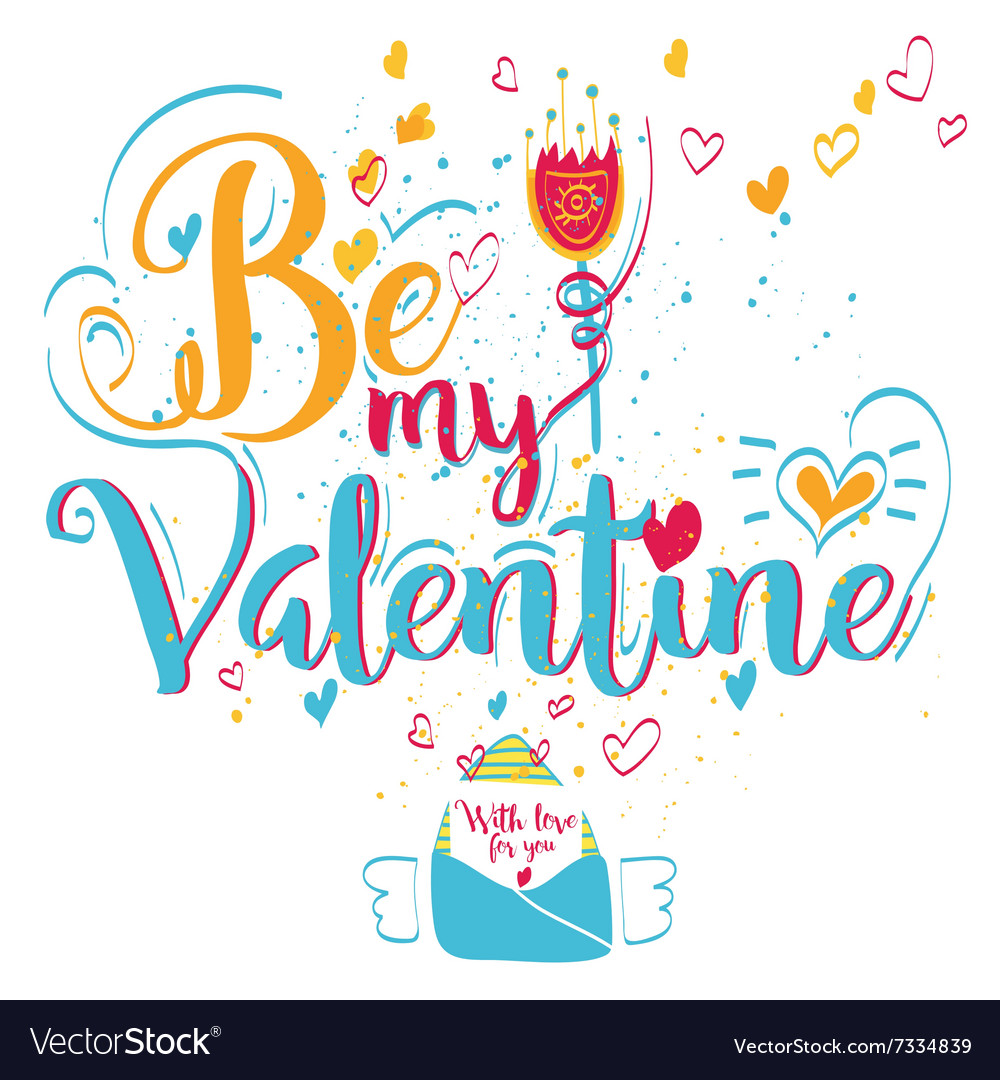 Valentines Day Greeting Card Lettering