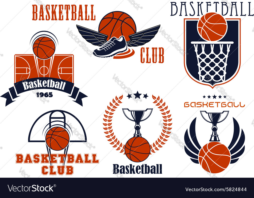 Basketball game icons with sport items