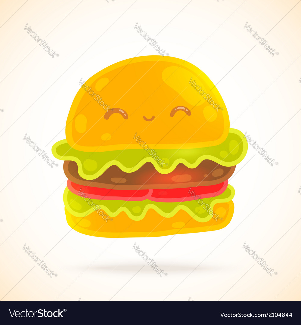 Cute funny cartoon hamburger with eyes smiling