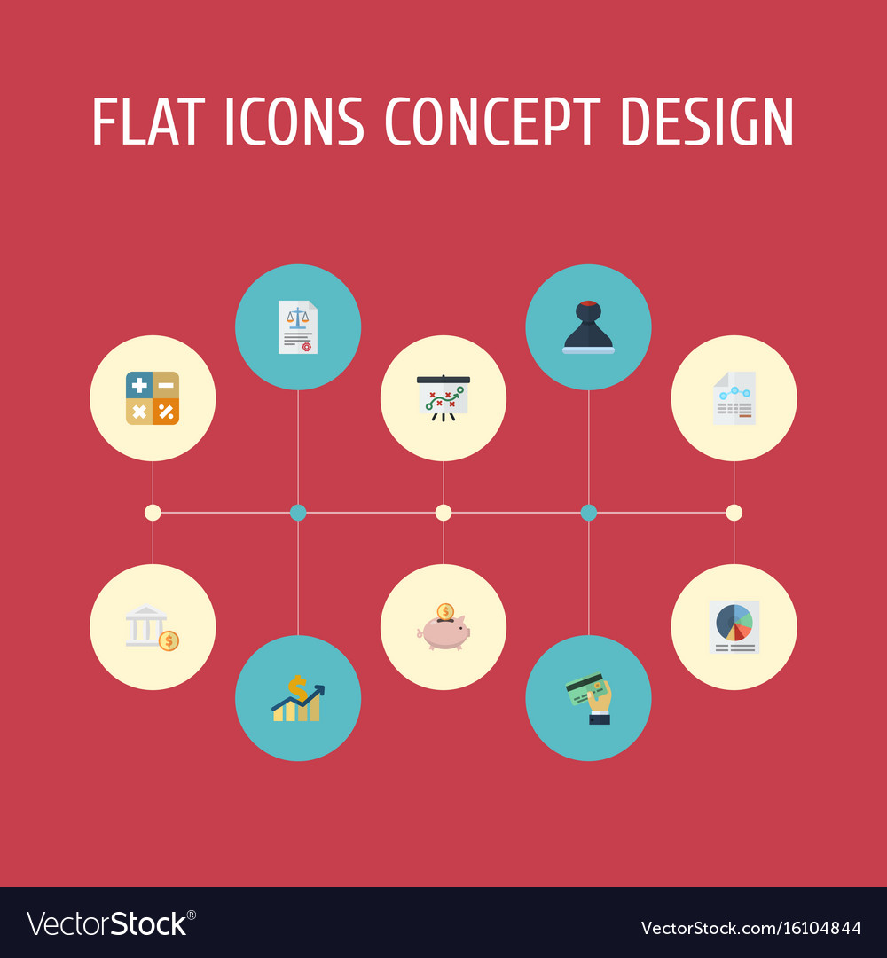 Flat icons net income moneybox pie bar and other vector image
