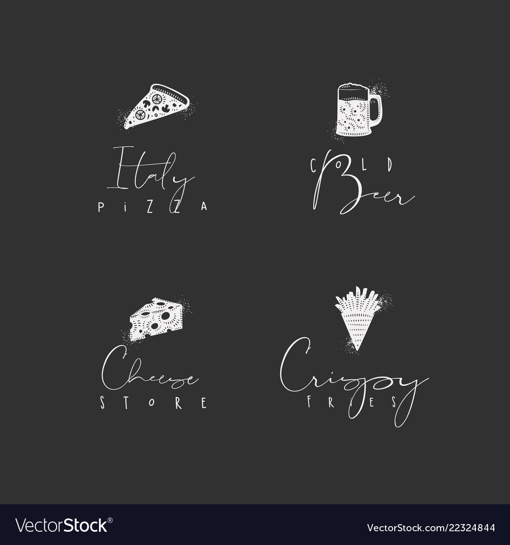 Food sign pizza beer cheese fries chalk