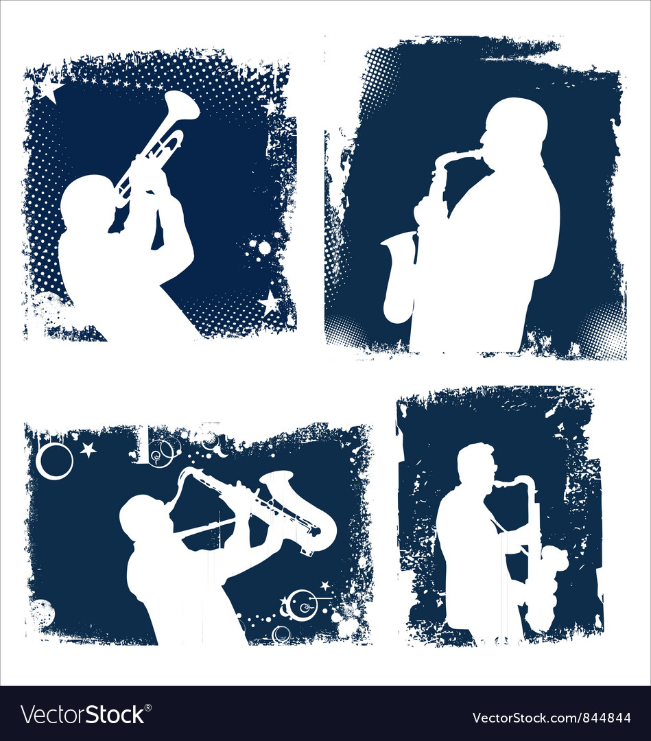 Grunge jazz background set vector image