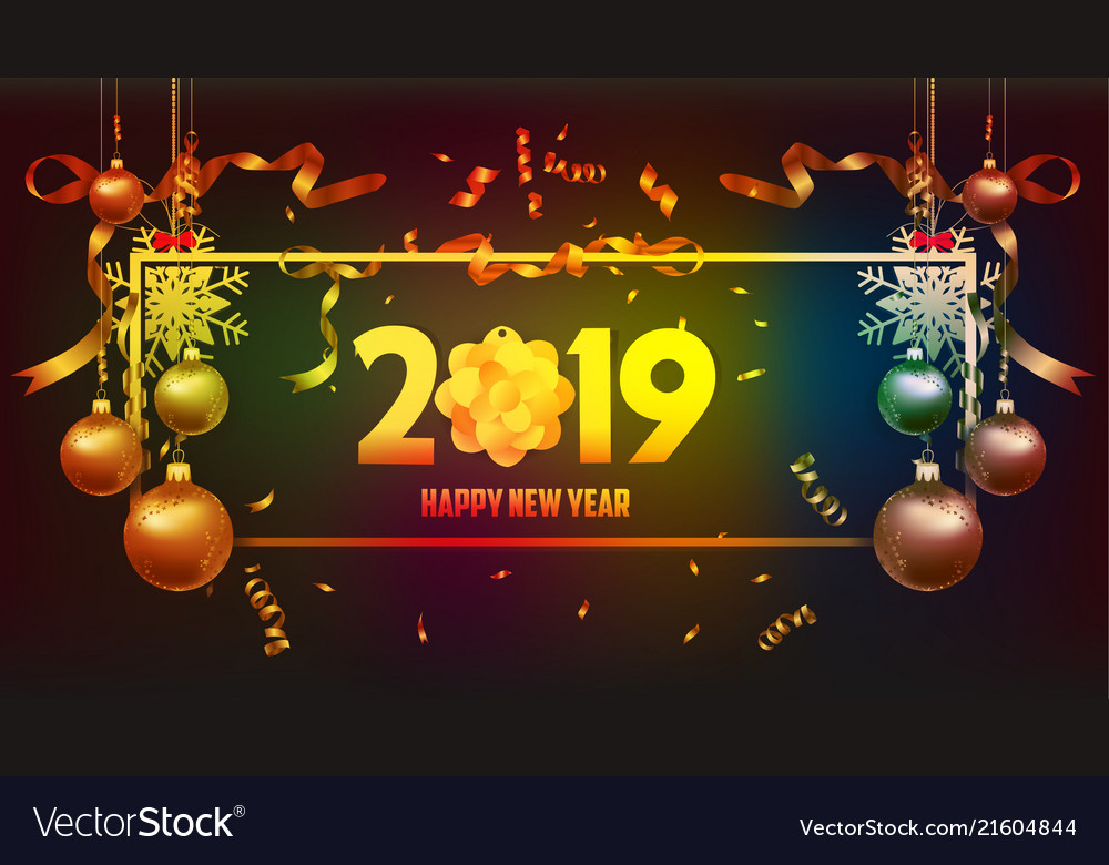 happy new year 2019 wallpaper gold and black vector image