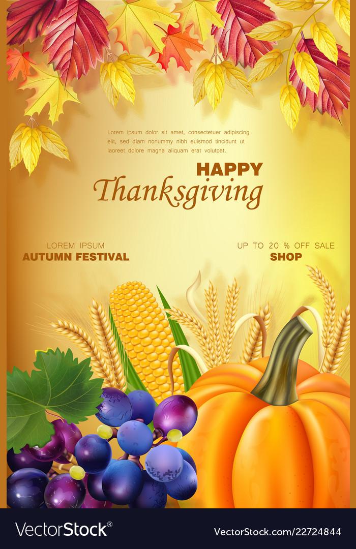 Happy thanksgiving menu realistic pumpkin