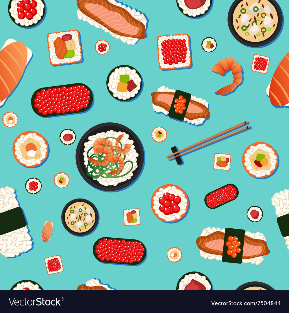 Japanese Food Seamless Pattern Sushi Royalty Free Vector
