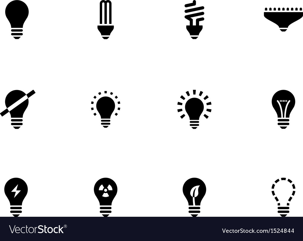 Light bulb and CFL lamp icons on white background