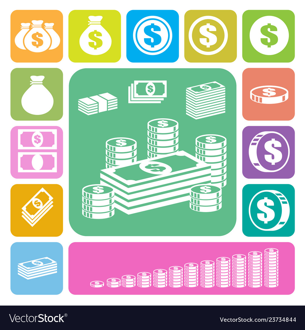 Money and coin icon set
