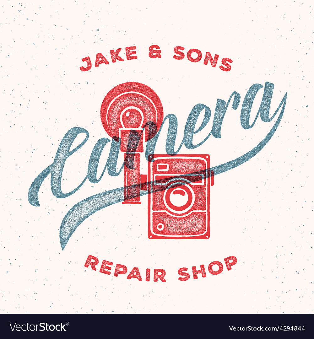 Retro Print Camera Repair Shop Logo or Label