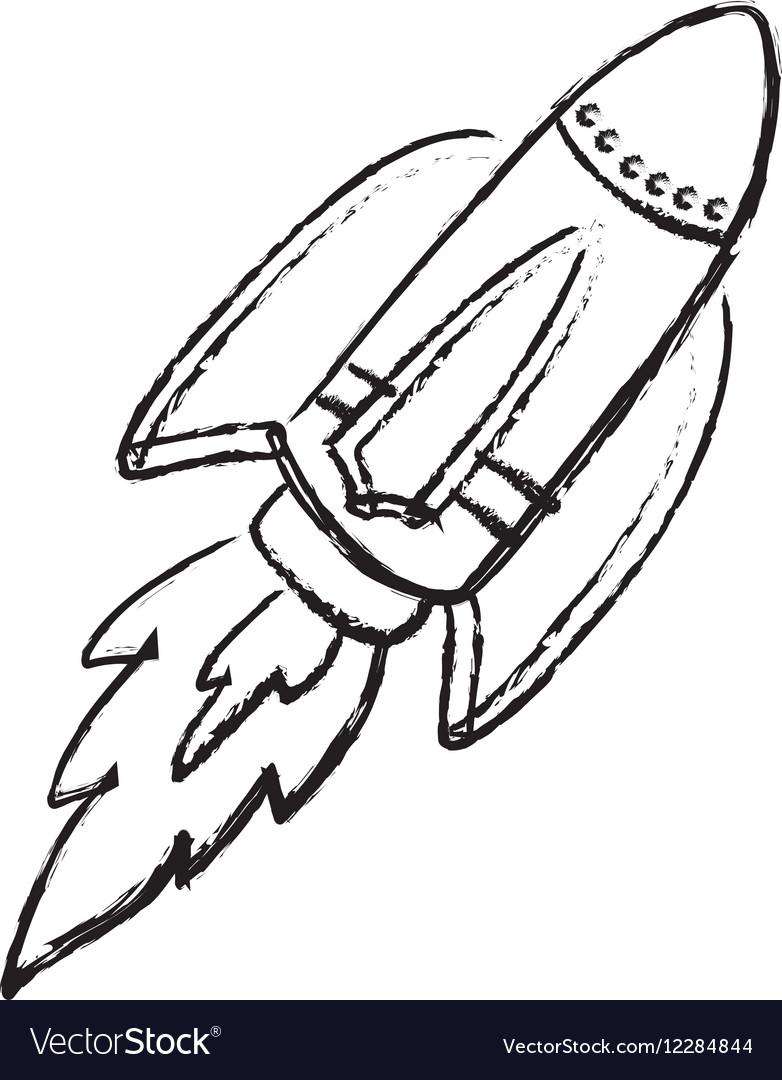 Rocket Spaceship Draw Royalty Free Vector Image
