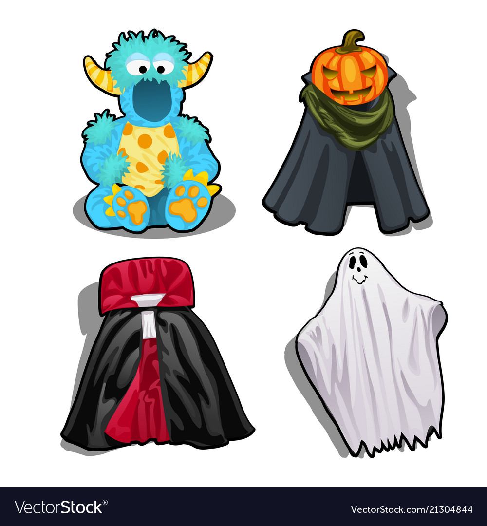 Set a festive fancy costumes for kids isolated on