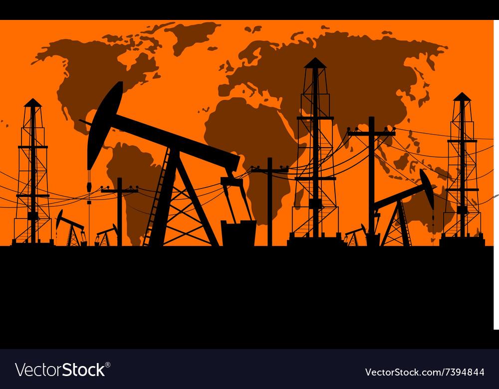 Silhouette of oil derrick