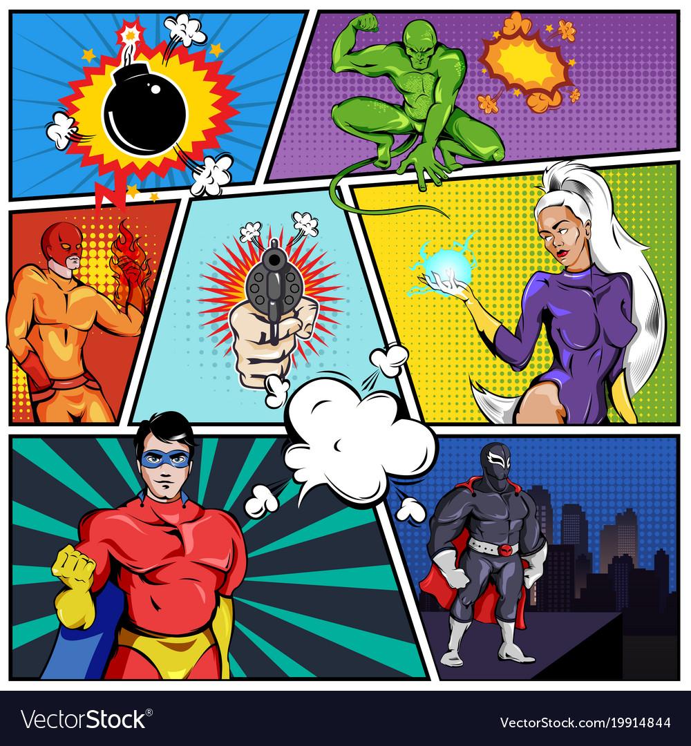 Superheroes comic page template