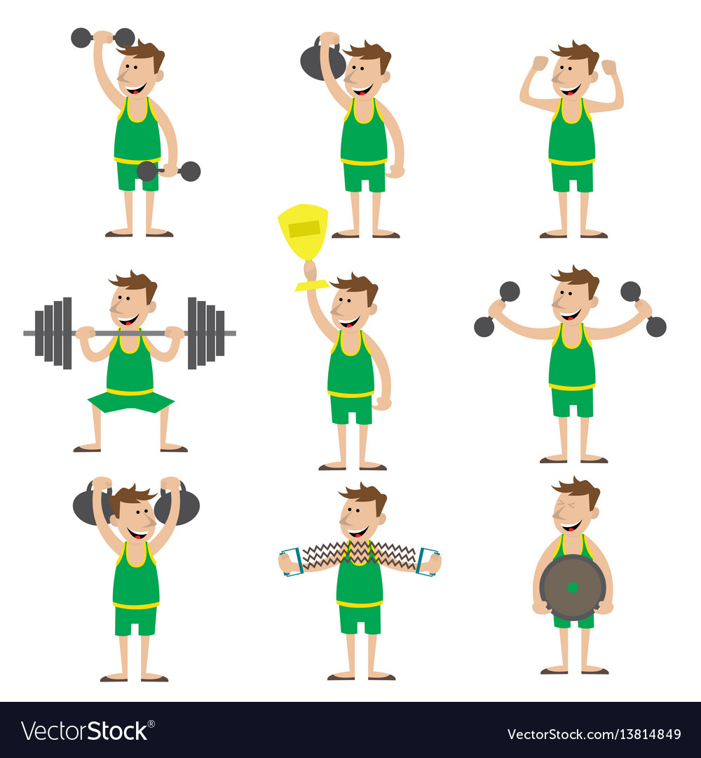 A set of exercises with dumbbells vector image