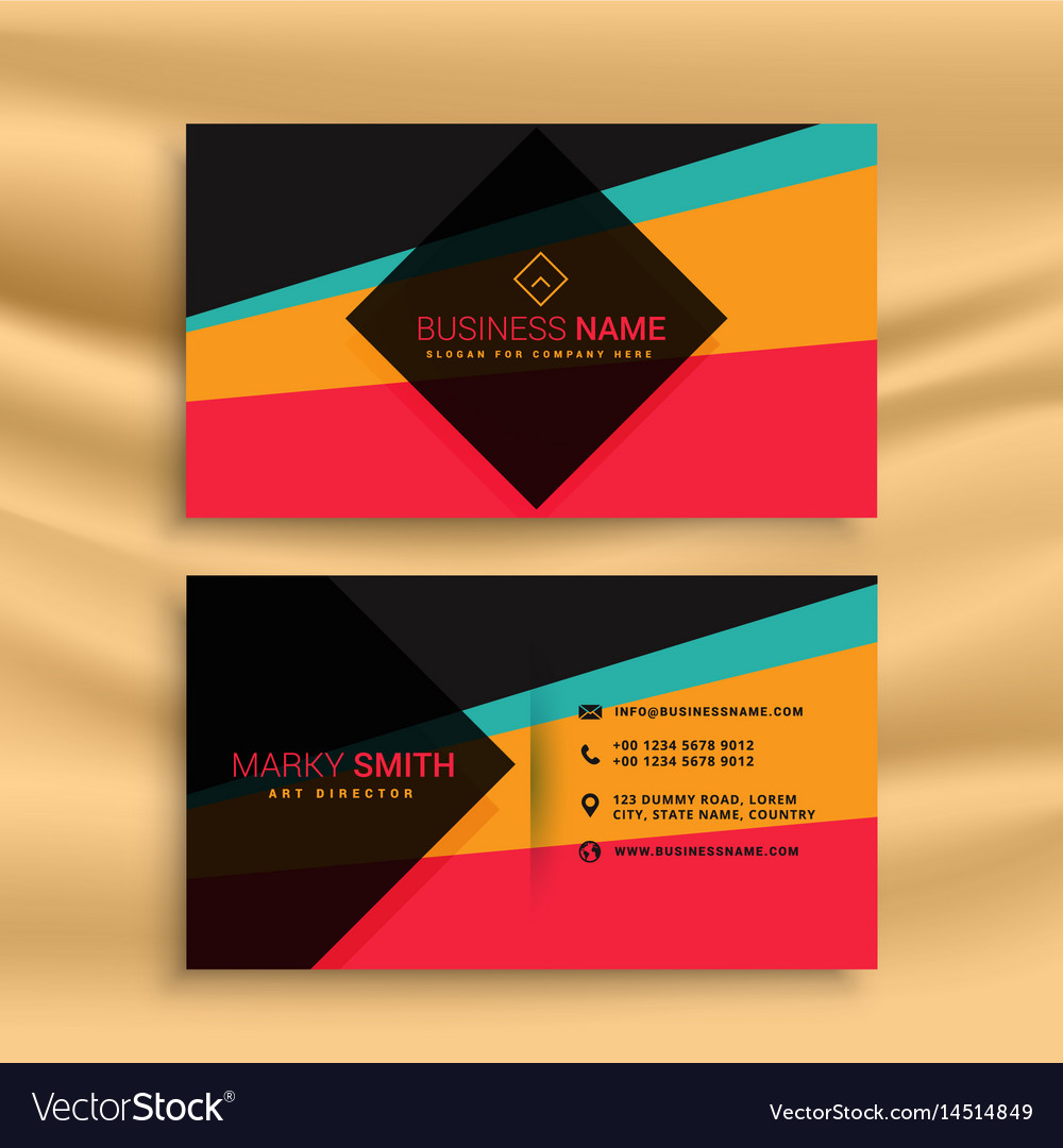 Abstract business card design with funky colors vector image colourmoves