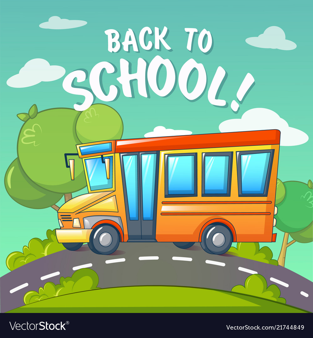 Back to school at school bus concept background
