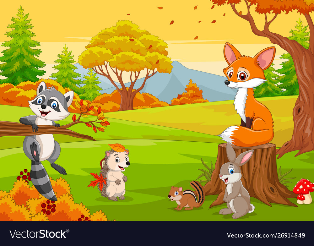 Cartoon wild animals in autumn forest Royalty Free Vector