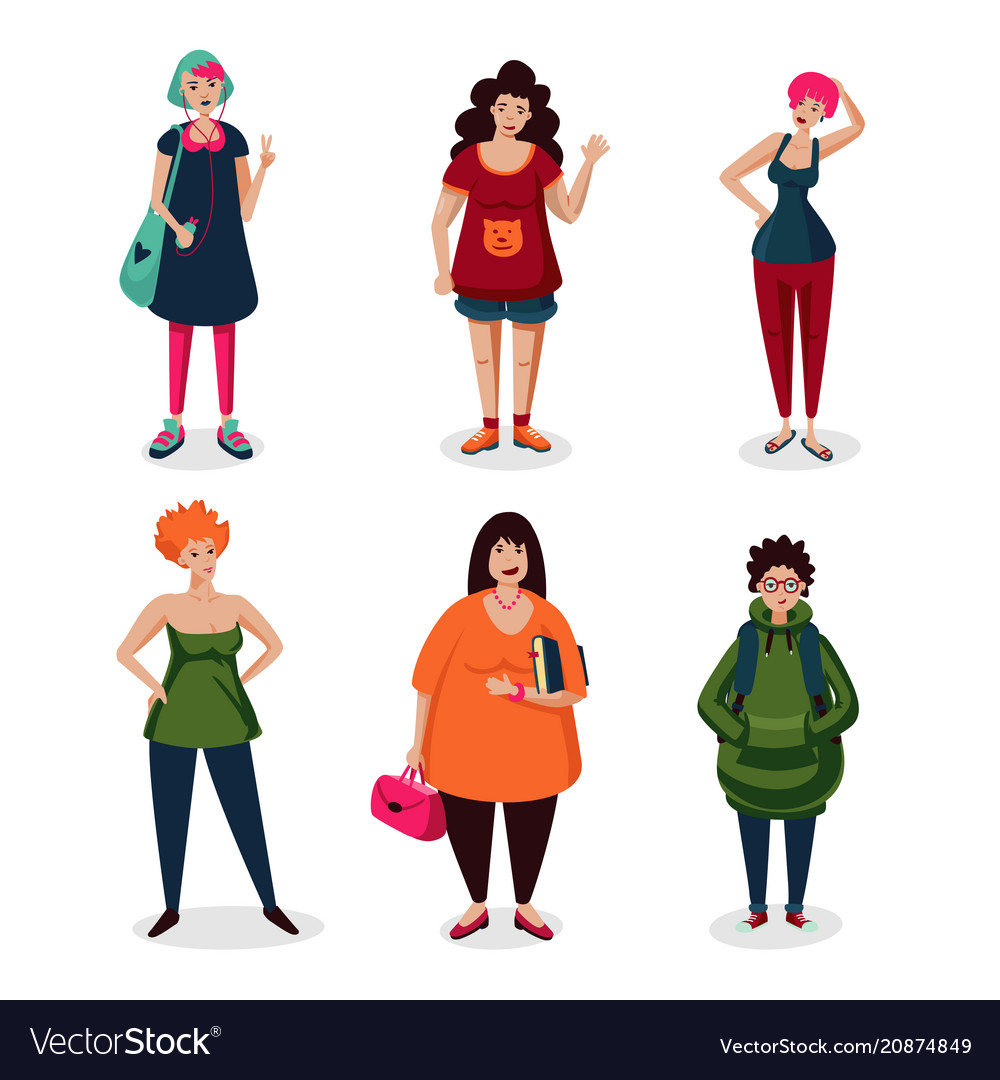 Everyday women in casual weargirls cartoon
