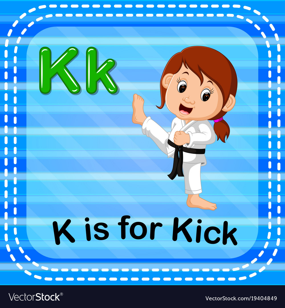 Flashcard Letter K Is For Kick Vector Image