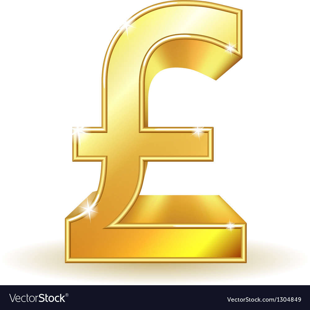 Gold sign pound currency