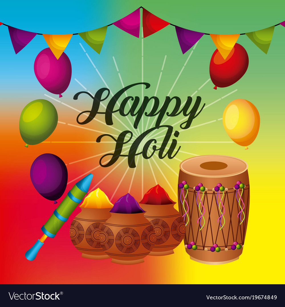 Happy holi greeting card with balloons pennant vector image m4hsunfo