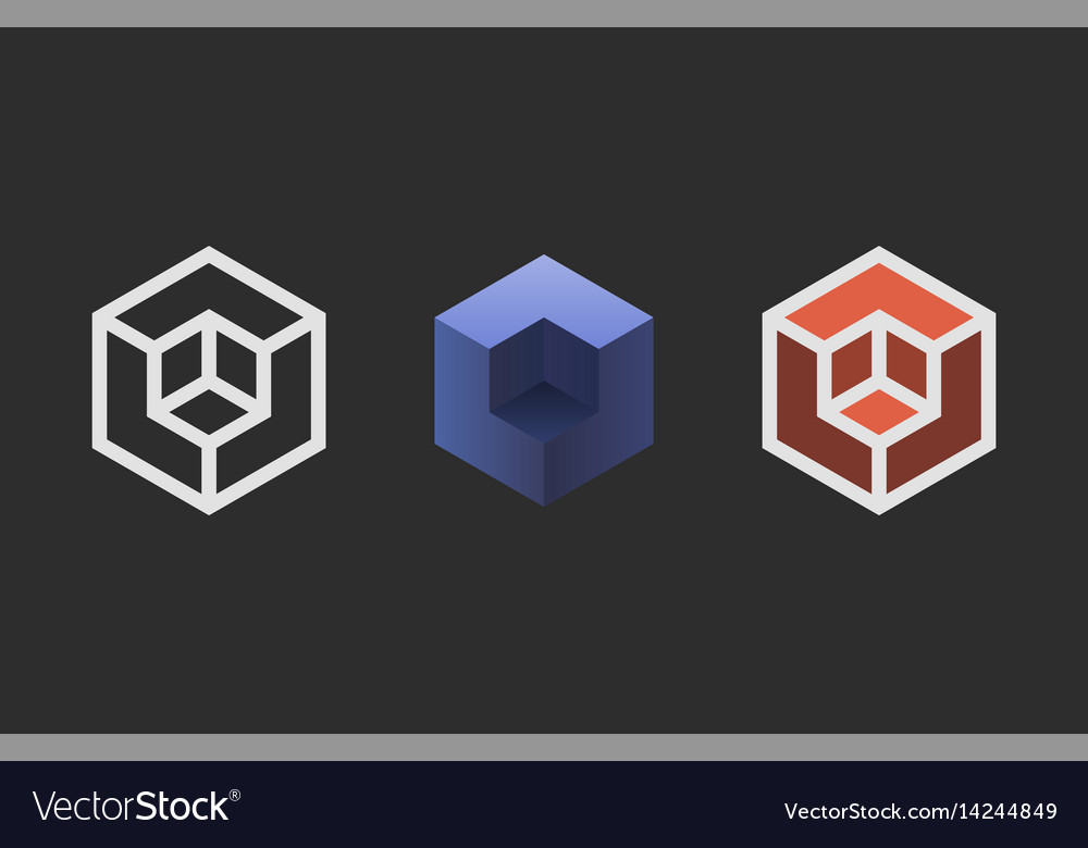 Hexagon logo design creative emblem template