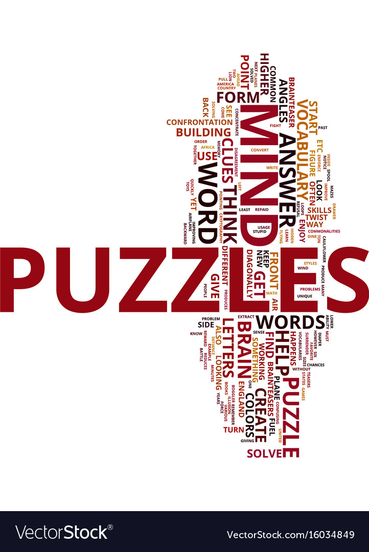 Mind Puzzles Brain Teasers Text Background Word Vector Image