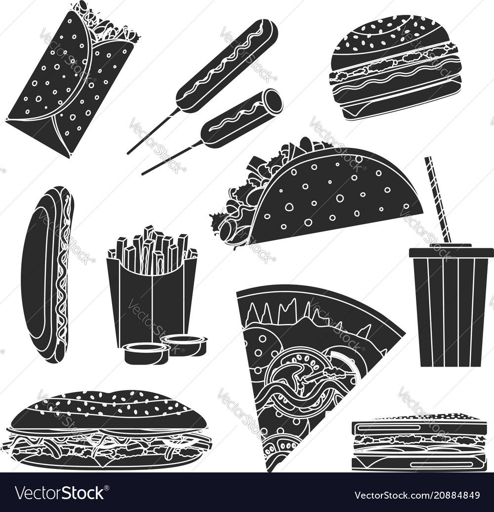 Monochrome black fast food symbols set