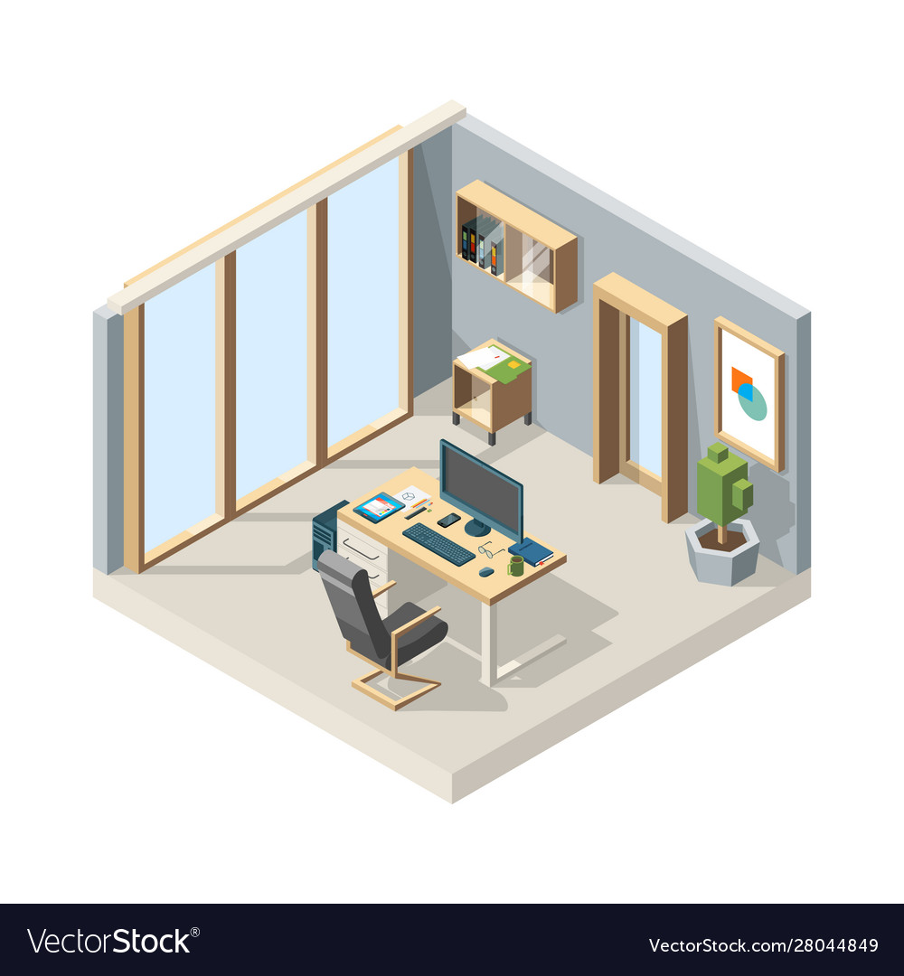 Office isometric business interior with furniture