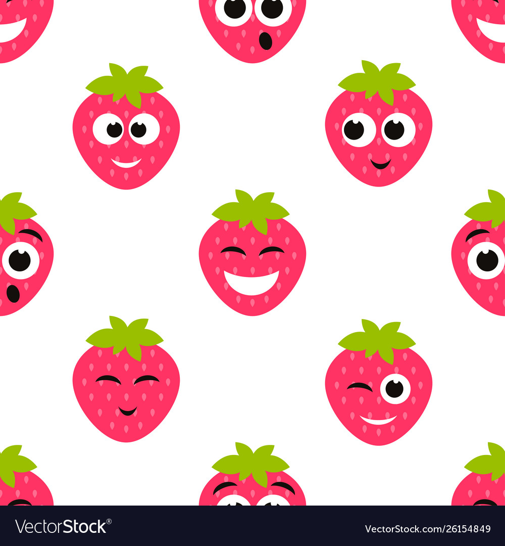 Seamless pattern with red strawberry cute faces
