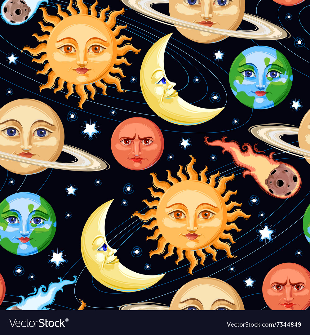 Seamless space objects vector image