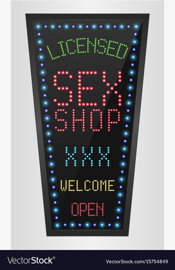 Shining retro light banner licensed sex shop vector image
