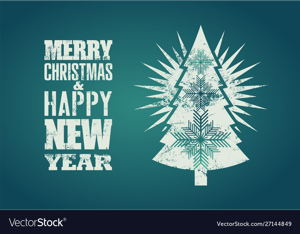 Typographical grunge retro christmas card design vector