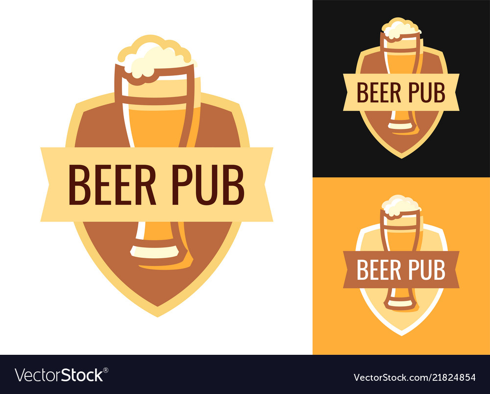 Blazon of beer pub on various backgrounds