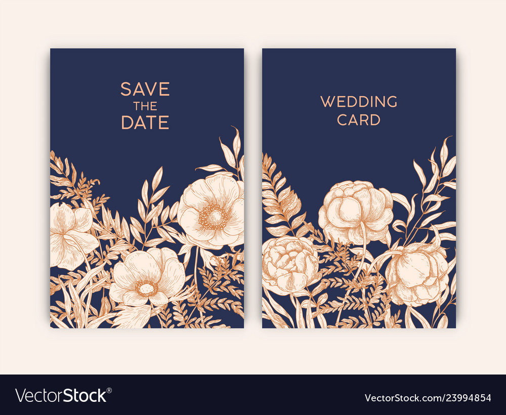 Bundle floral templates for save date card