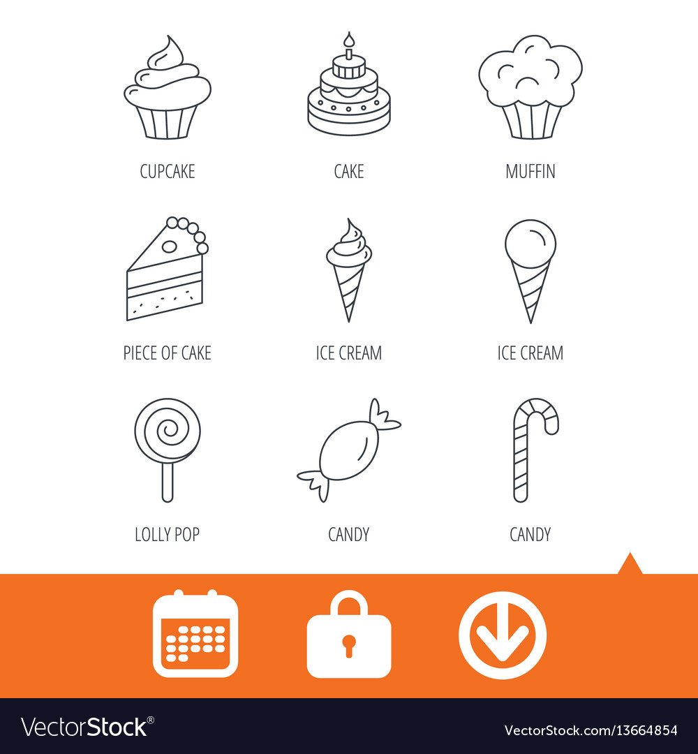 Cake candy and muffin icons cupcake sign