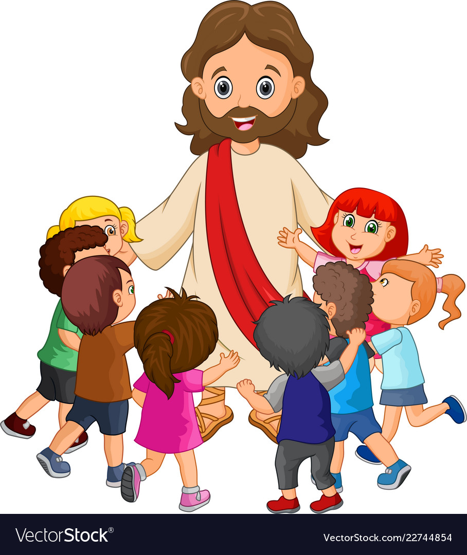 Cartoon Jesus Christ Being Surrounded Children Vector Image