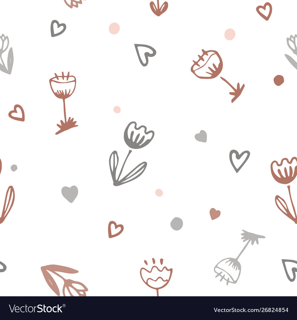 Cute romantic seamless pattern with doodle