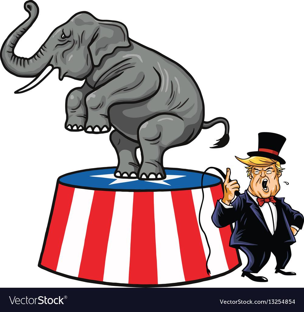 Donald trump and republican elephant cartoon