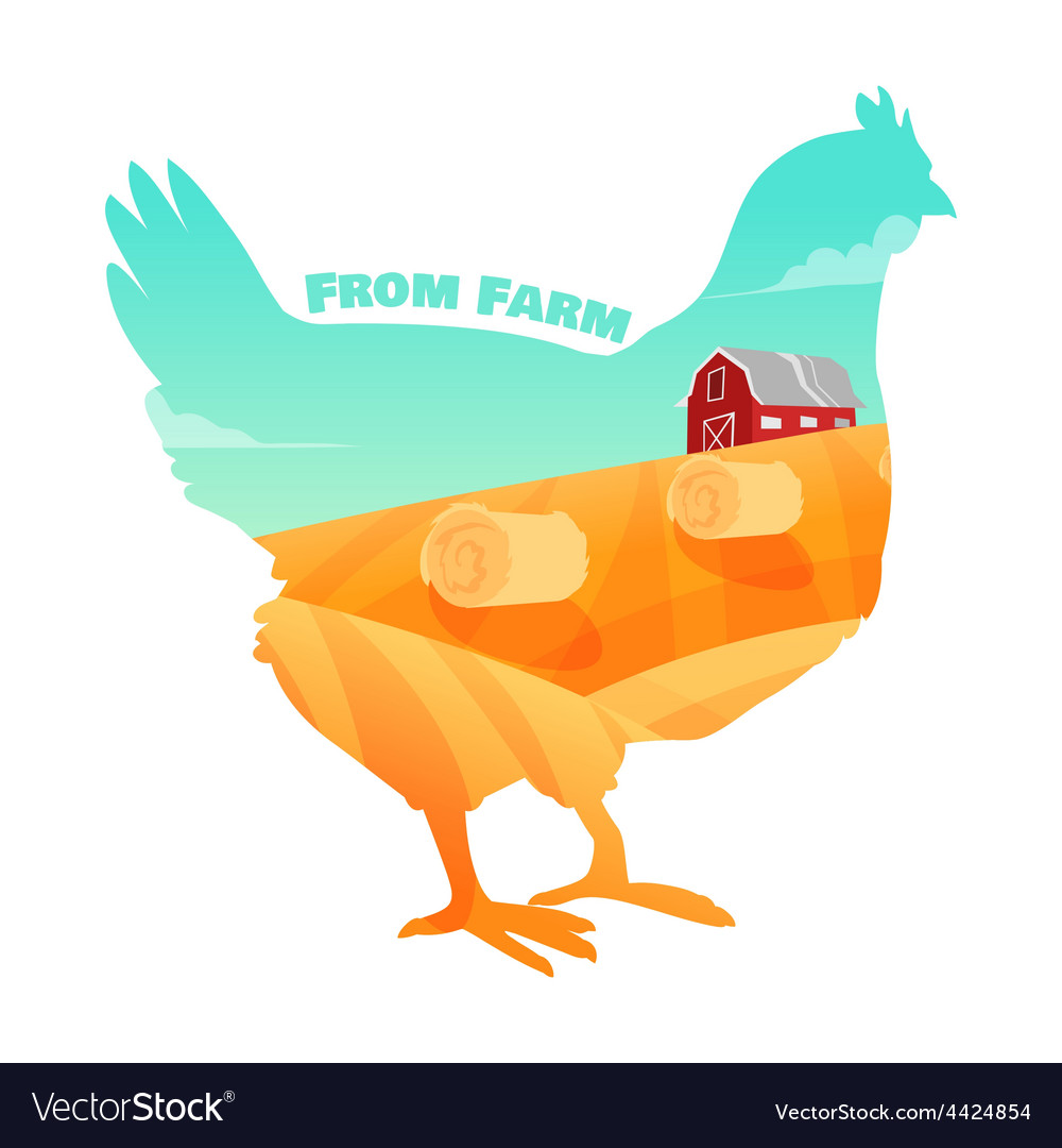 Hen with farm background inside Concept of fresh