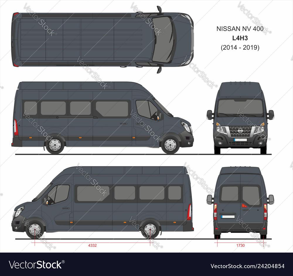 Nissan Passenger Van >> Nissan Nv400 Passenger Van L4h3 2014 2019 Vector Image