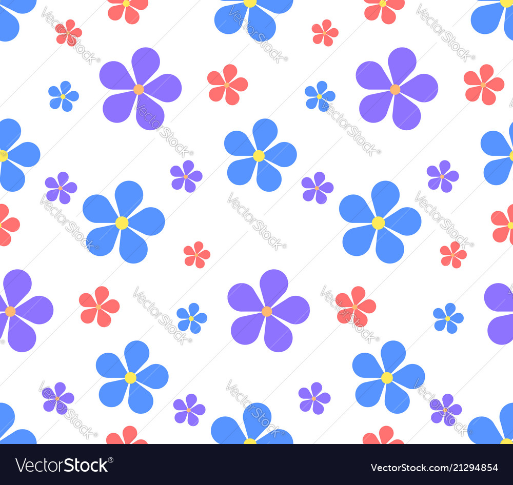 Seamless texture with flowers on a white