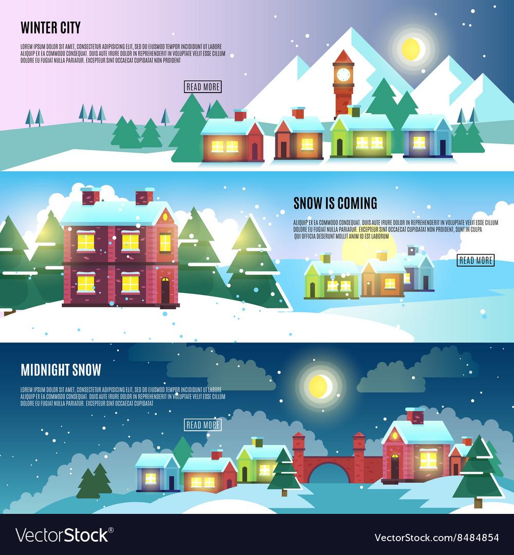 Urban city cityscape winter banners set