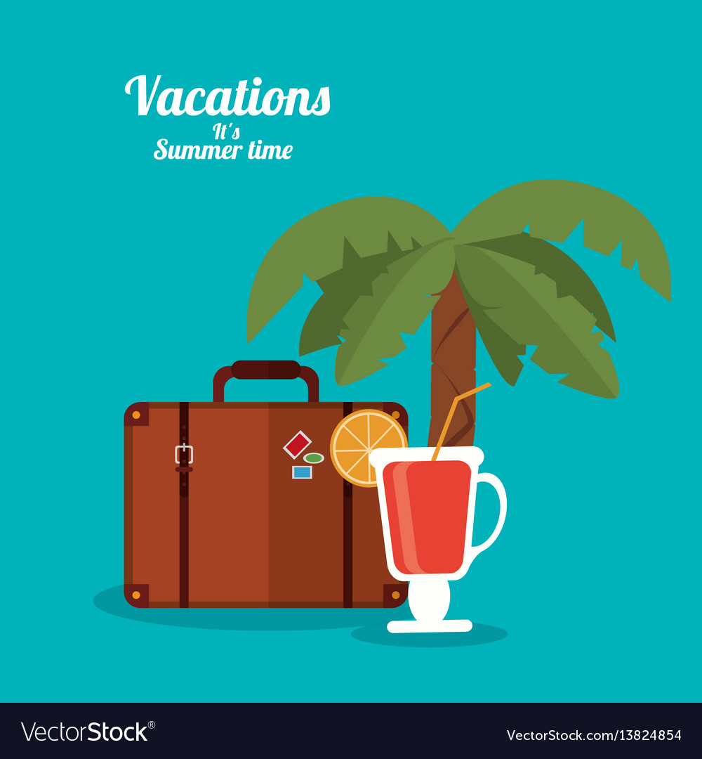 Vacations summer time - cocktail suitcase and palm