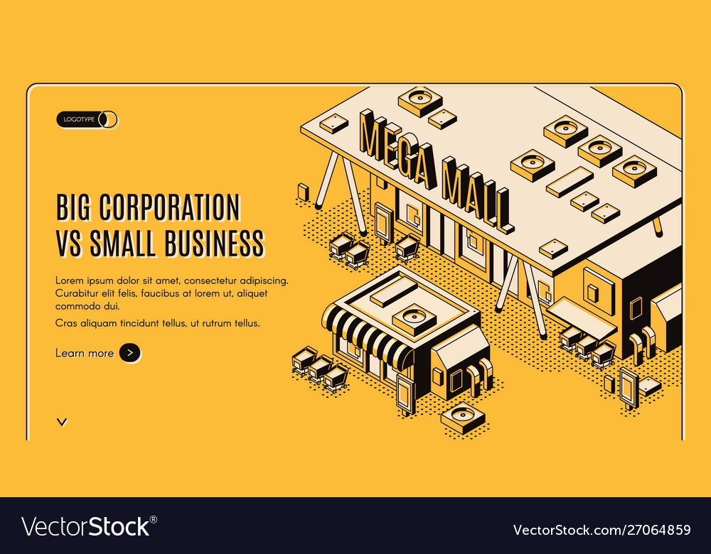 Big corporation in small business isometric banner