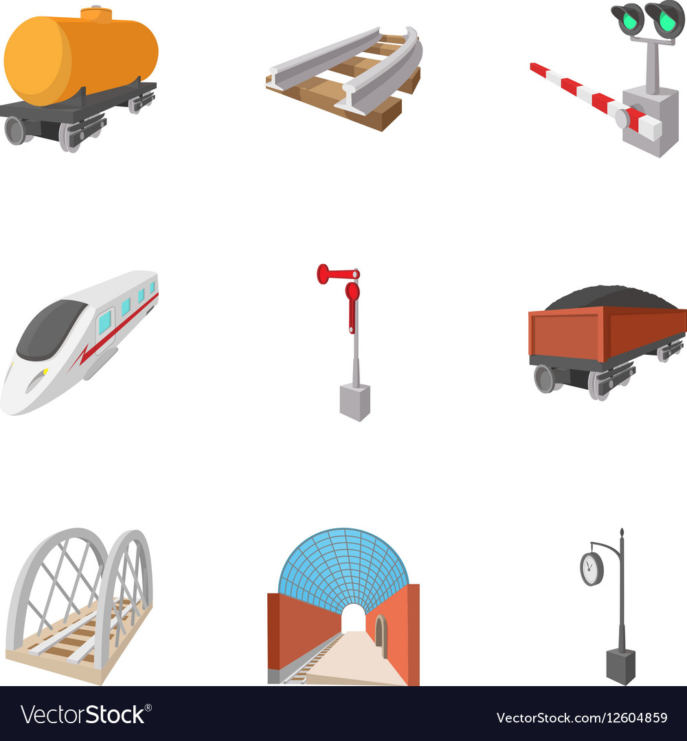 Electrical train icons set cartoon style