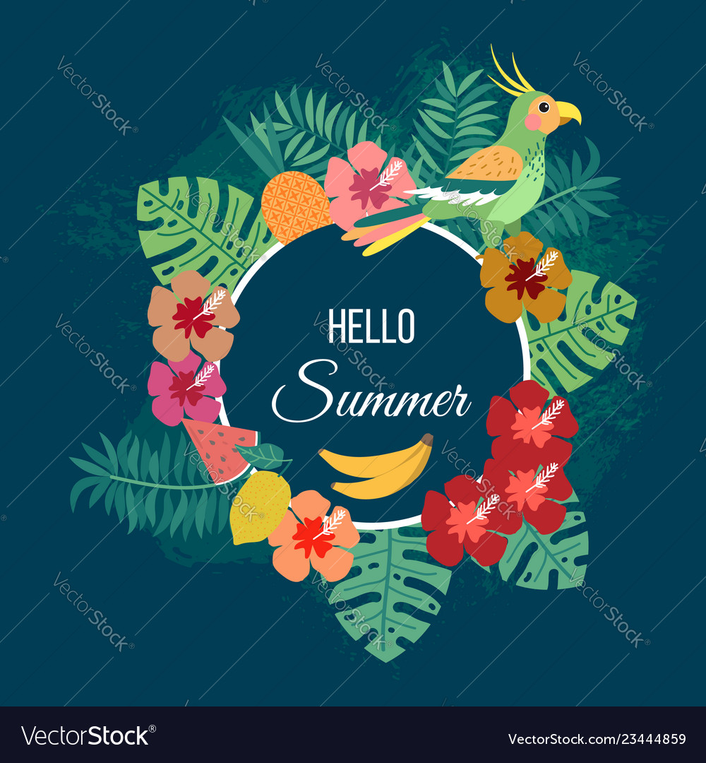Floral summer background with tropical leaves and
