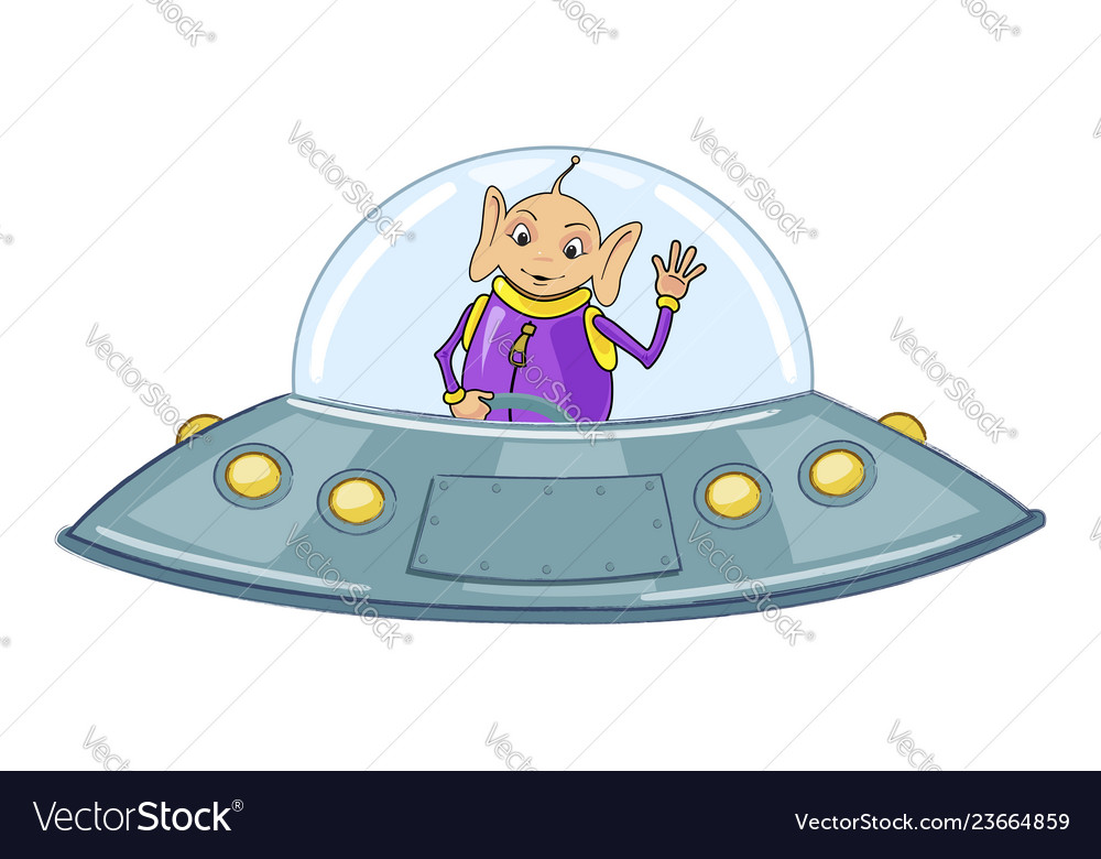 Funny alien on a flying saucer